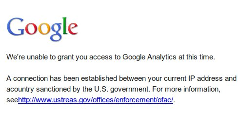 Google Analytics Sanctions